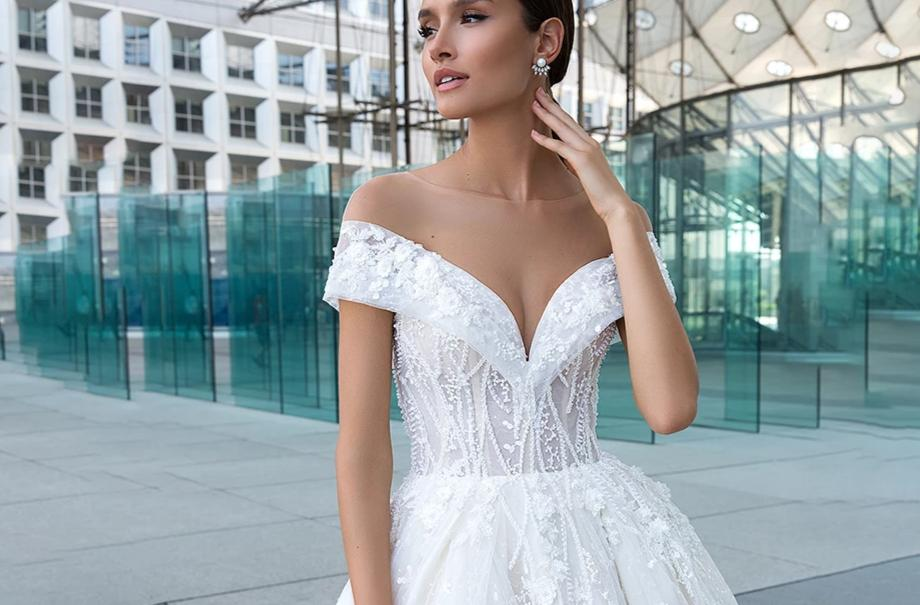 Cap Sleeve Beaded Princess Lace Wedding Dress