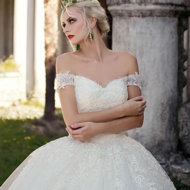 Elegant Cap Sleeve Bridal Dress