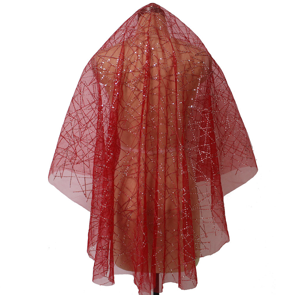 Single Tier Sequins Red Short Wedding Veil
