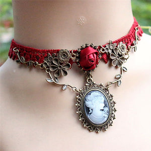 Vintage Red Rose Lace Choker