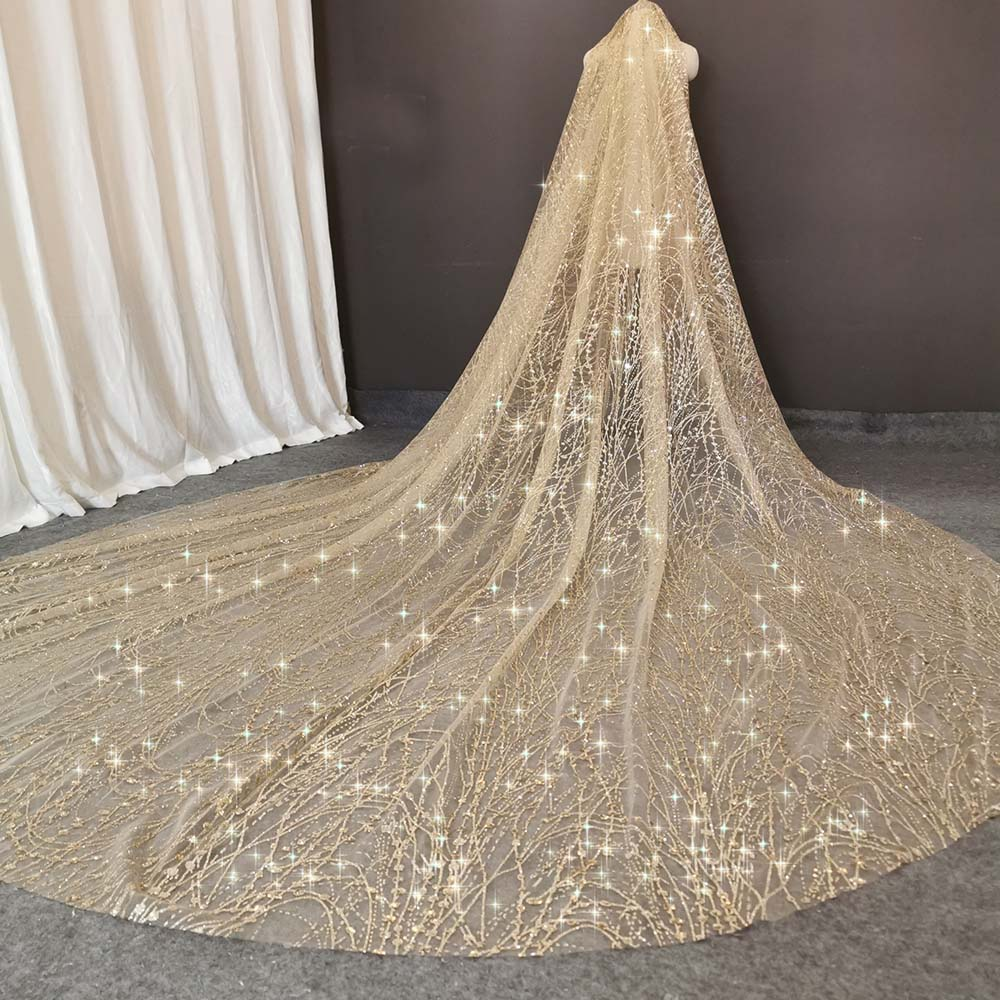 Vintage Champagne Wedding Veil with Sequins Dust