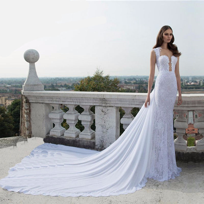 Lace Wedding Dress Detachable Train