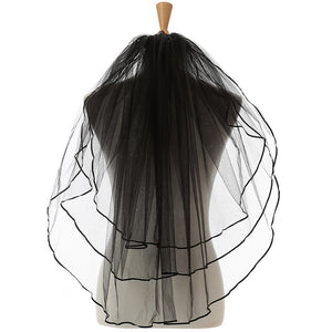 3 Layer Bridal Veils . Black /Red /White /Ribbon Edge