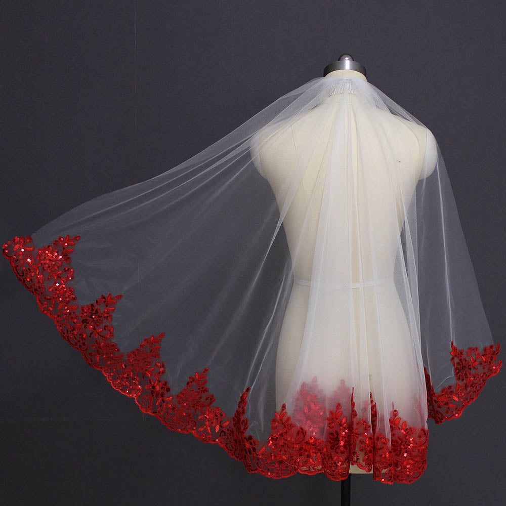 Sequins Red and White /Ivory Wedding Veil