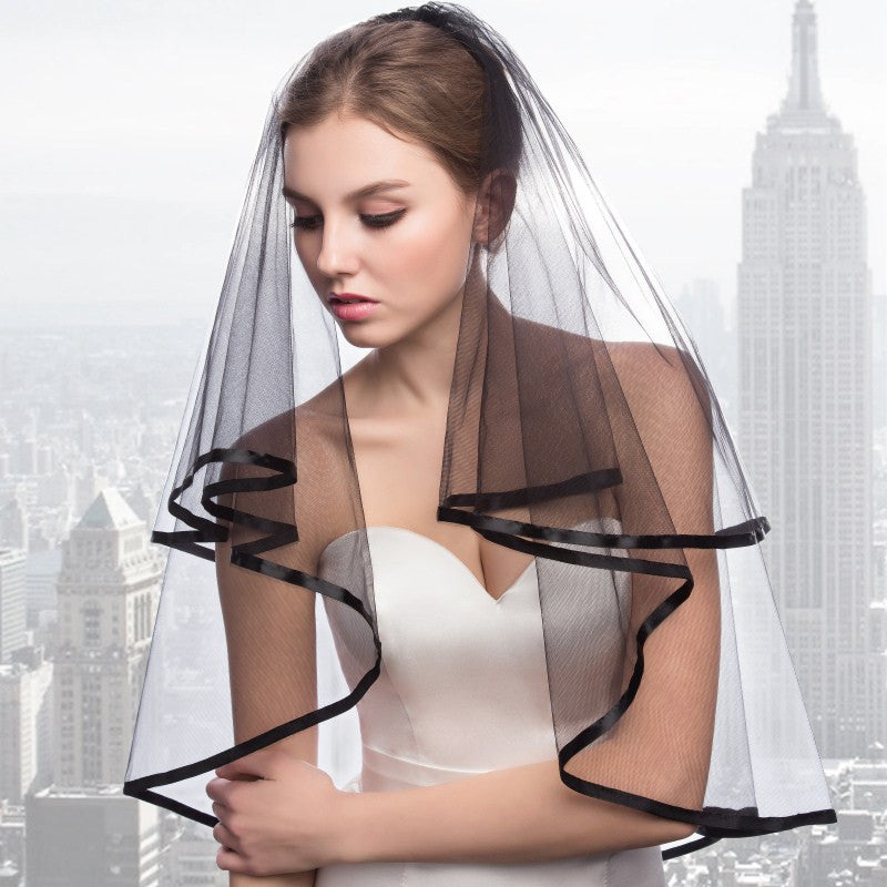 Black ribbon lined Tulle Bridal Veil