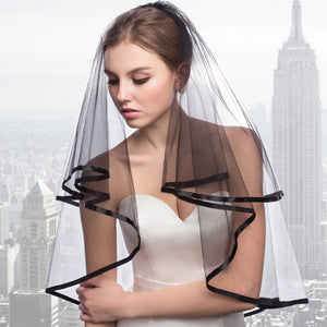 Black 2 Layers Tulle Bridal Veils