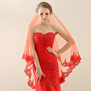 Red Tulle Bridal Veil