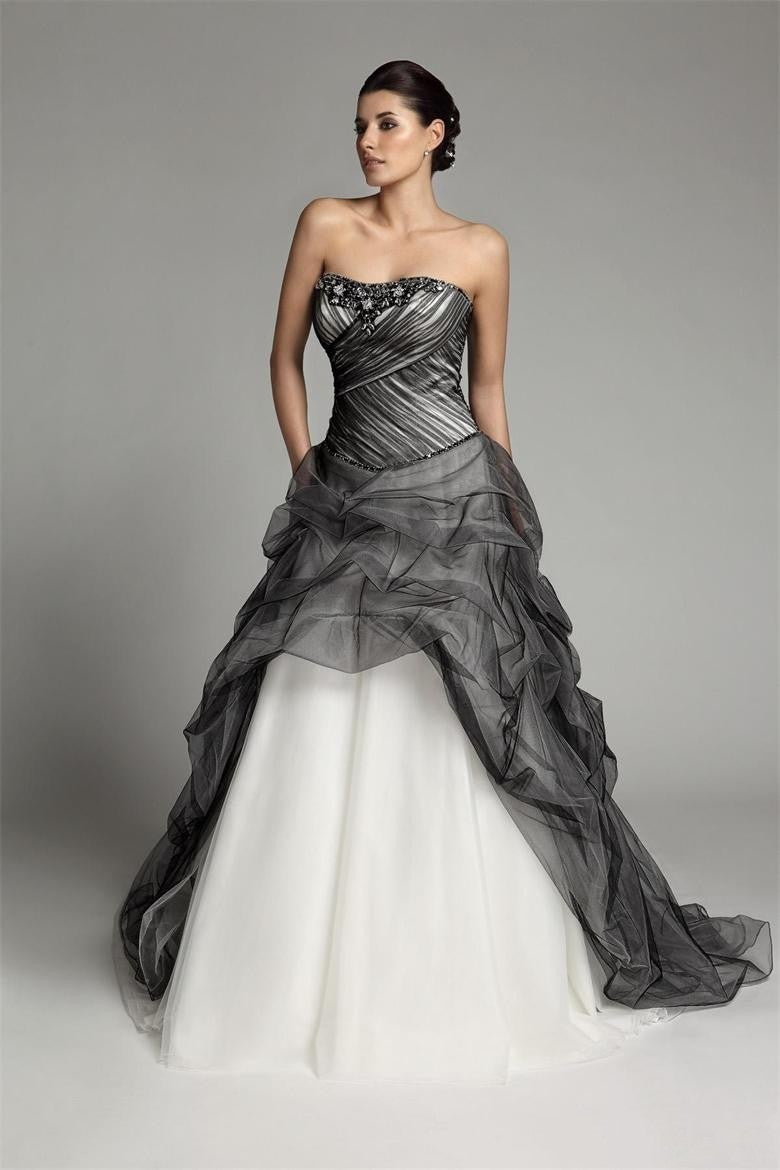 A-line Gothic Black And White Wedding Dress