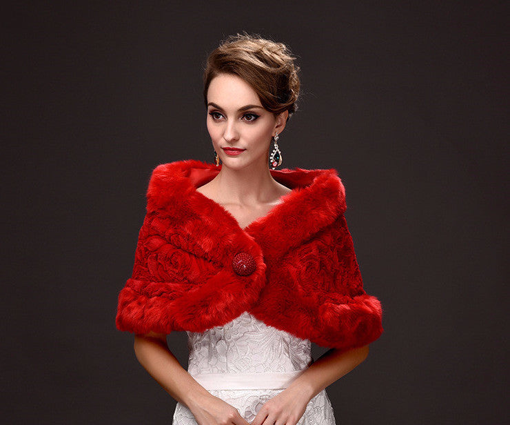 red/ white fur coat shawl