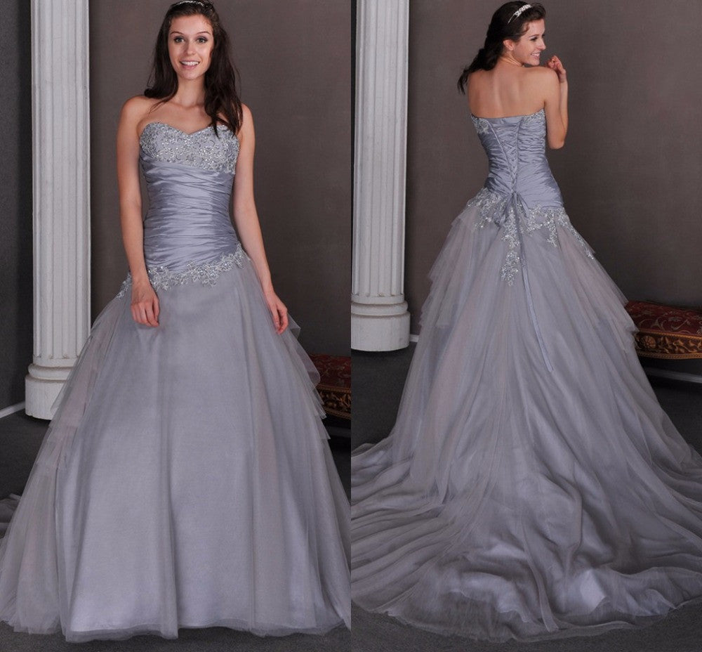Silver Wedding Gowns: Vintage Gothic Silver & Gray Wedding Dress ( Custom Colors