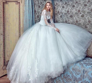 Luxury Fairytale Ball Gown Wedding Dresses With Long Sleeves