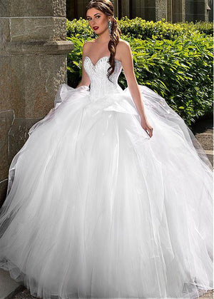 Wedding Dresses Sleeveless Lace Up Back Rhinestones Sweetheart