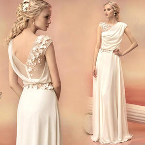 Beach Bohemian Wedding Dresses Pleated Chiffon with 3D Floral Flowers