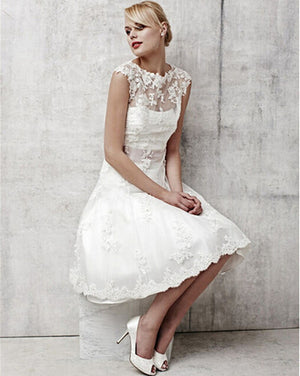Vintage White Lace Bridal Dresses Short Wedding Dress