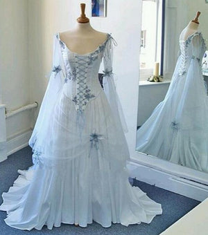 Vintage Celtic Wedding Dress White and Pale Blue