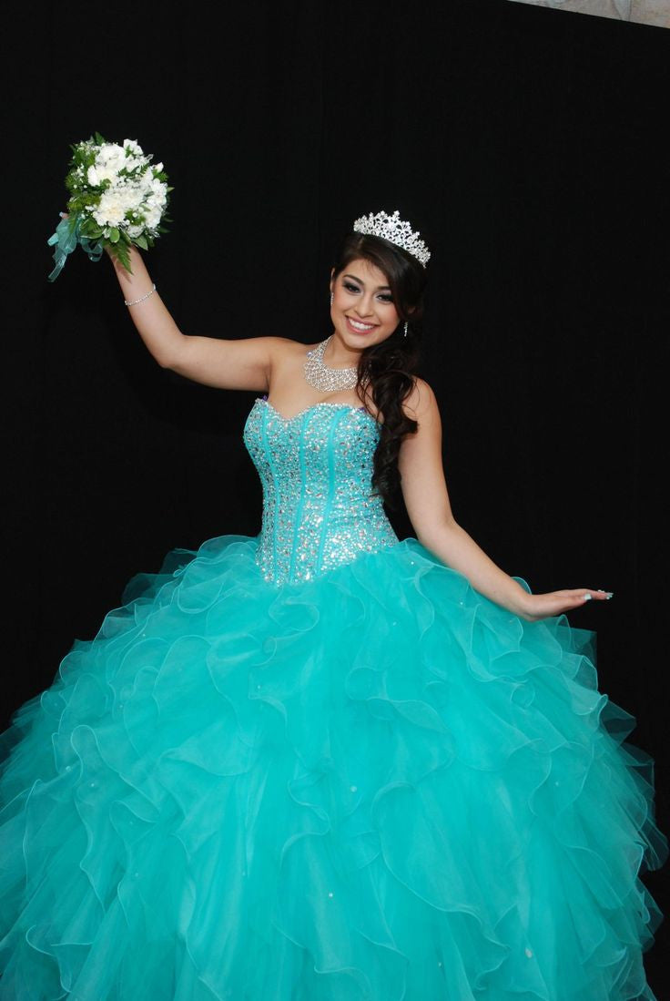 Tf  Blue Quinceanera Dress Ball Gown Sweetheart Beaded Organza Debutante Quinceanera Gown