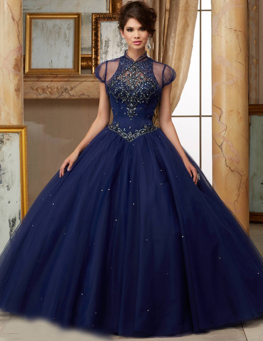 2017 New Ball Gowns Scoop Crystals Navy Blue Soft Tulle Princess Quinceanera Dress for Sweet 16 Years Vestido De 15 Years QR73