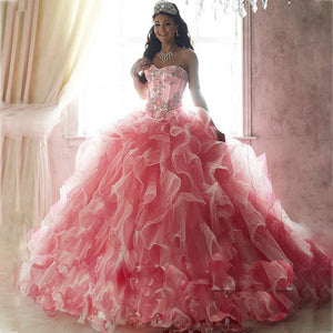 Crystal Sequined Pink Sweetheart  Ball Gown