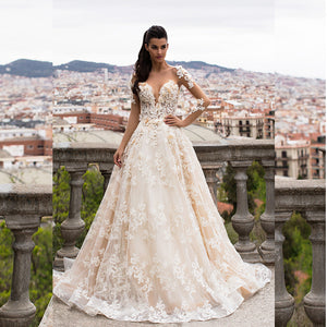 Tulle Lace Appliques Wedding Dress Handmade Flowers