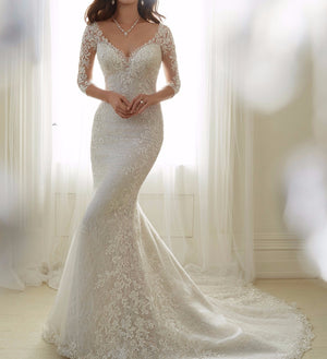 Sheath 3 4 Sleeve Lace Beading Sexy Women Wedding Gown