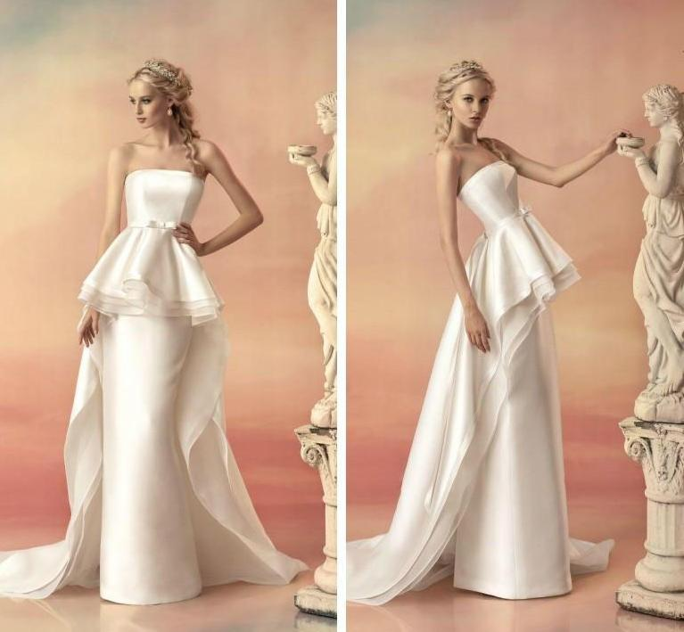 Strapless Tiered Peplum Bridal Dress