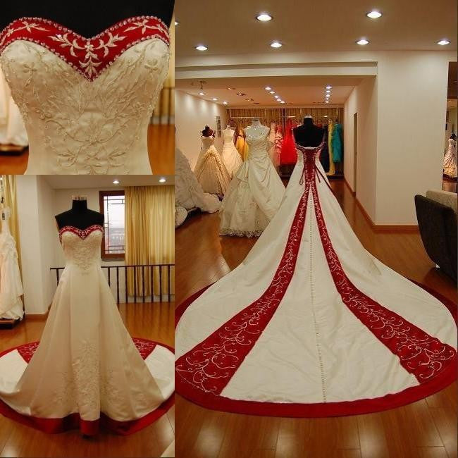Red And White Embroidery  Wedding Dress