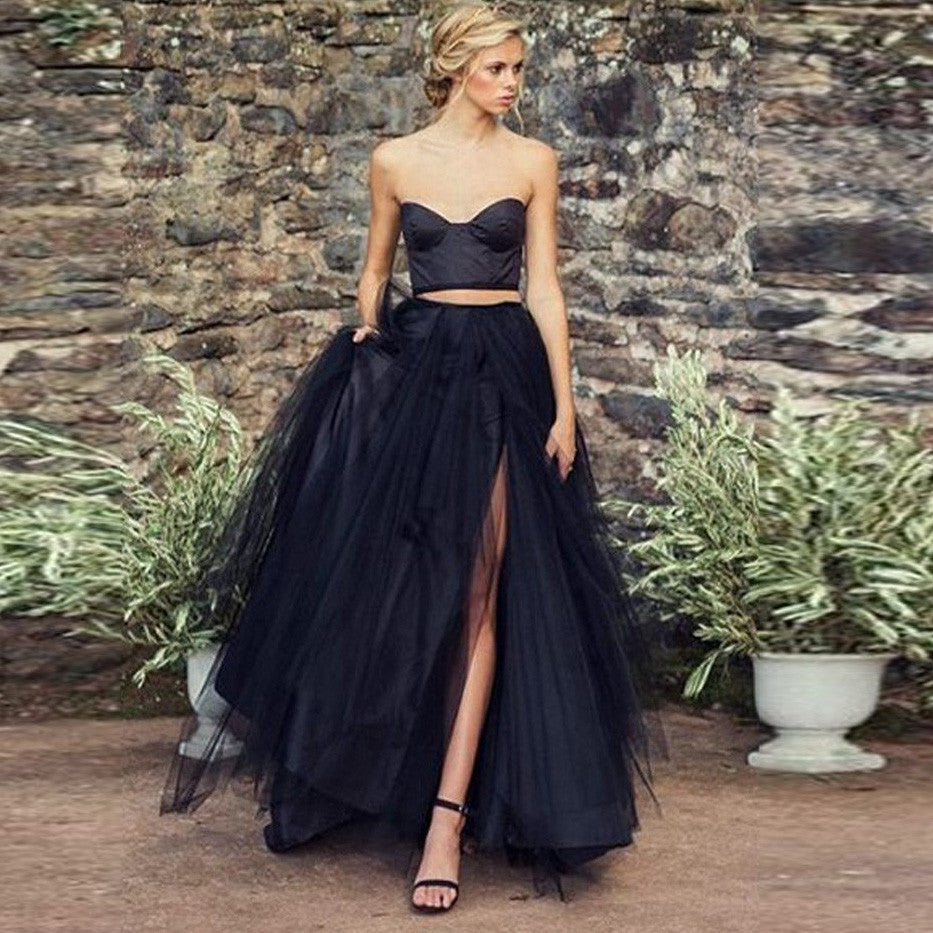 Gothic Sexy Black 2 Piece Gown