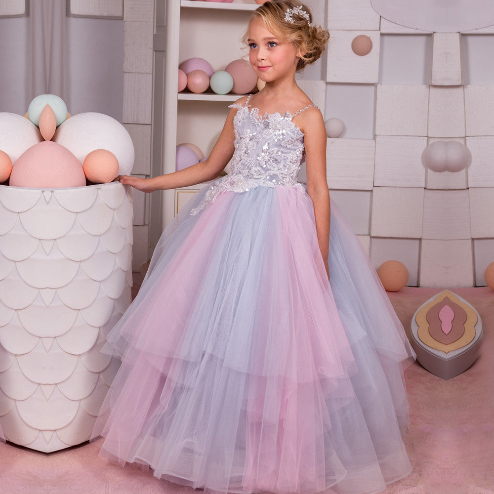 Little Girls Pageant Dress With Sweep Train Lace Applique
