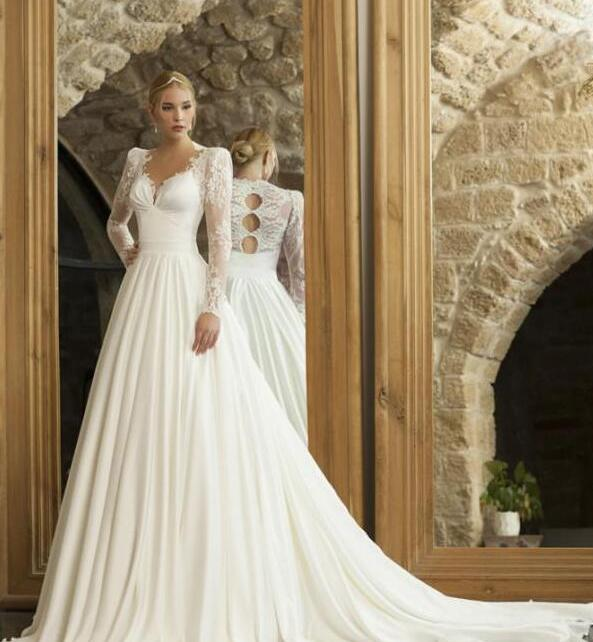 Beautiful A-Line Modest Wedding Dress With Long Sleeves