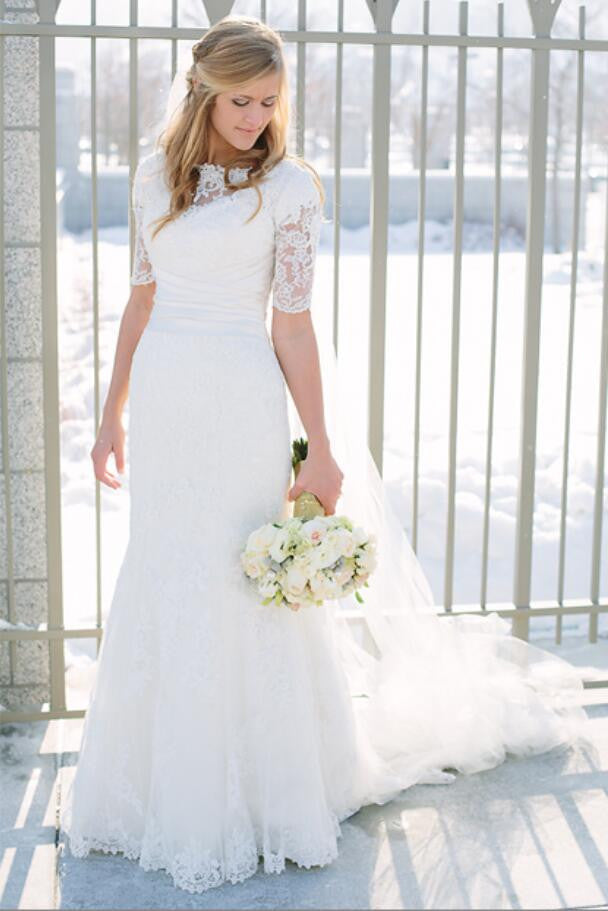 Vintage  Wedding Dresses With Half Sleeves