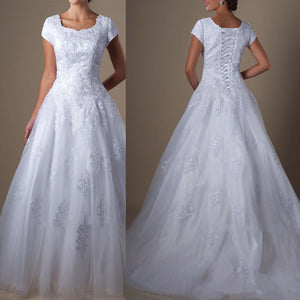Modest  A Line Short Sleeves Wedding Dress