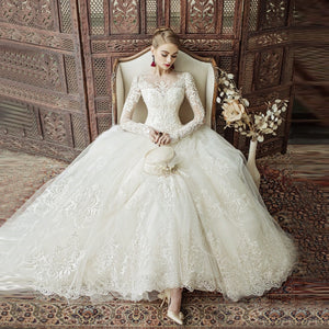 Elegant Princess White Ball Gown