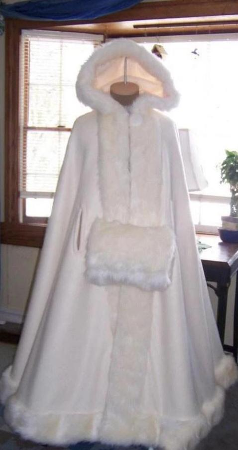 Stunning Hooded Wedding Cloaks with Faux Fur