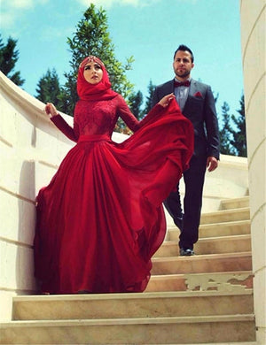 Red Long-Sleeve Wedding Dress