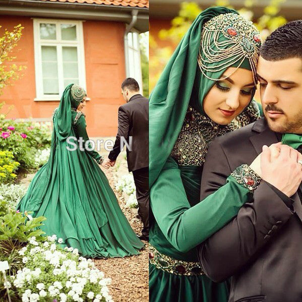Emerald Green Long Sleeve Crystal Beaded Floor Length Wedding Dress