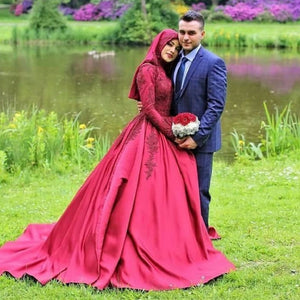 Satin Red Long Sleeve Wedding Dress