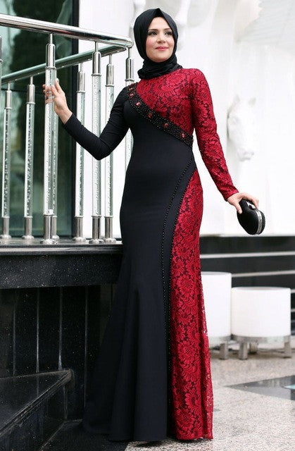 2d86fce4ef8 Evening Dresses Long Sleeves Red Lace Evening Dress – Matrimony Prep