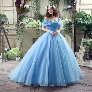 Elegant Light Blue Princess Ball Gown Wedding Dresses