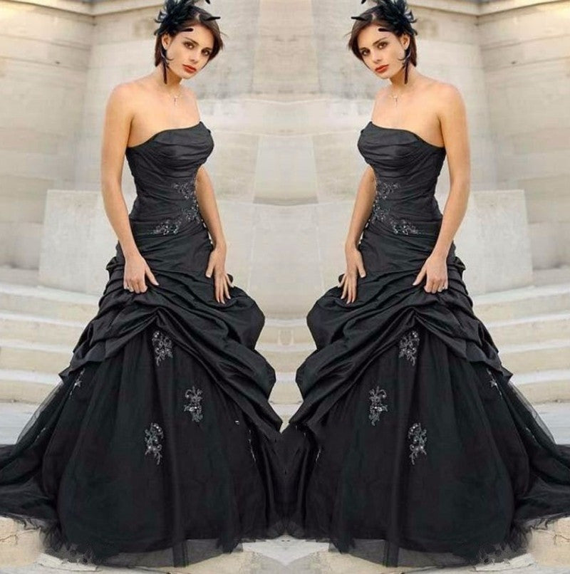 Black  Strapless Gothic Wedding Gown
