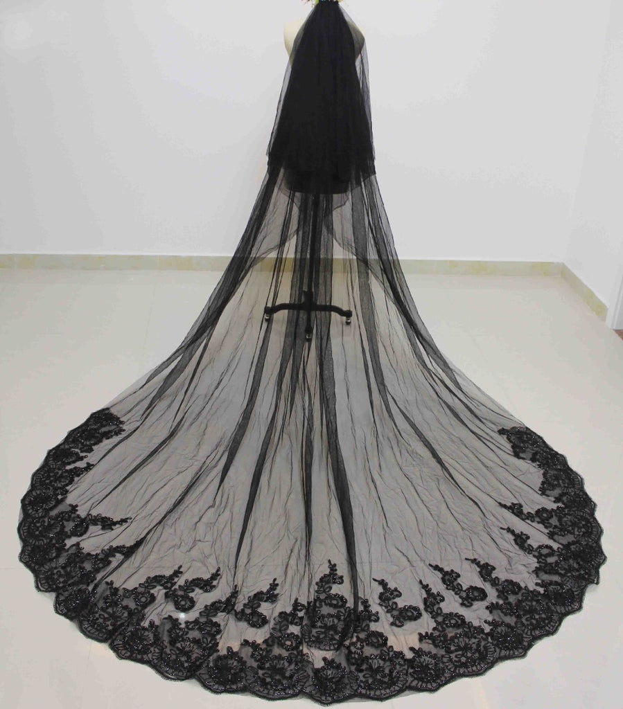 Long Black Wedding Veil with Comb
