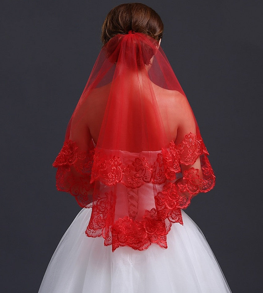 Red Lace Wedding Veil