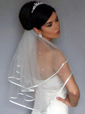 Sexy Two Layer Satin Edge Wedding Veil Crystal Beads