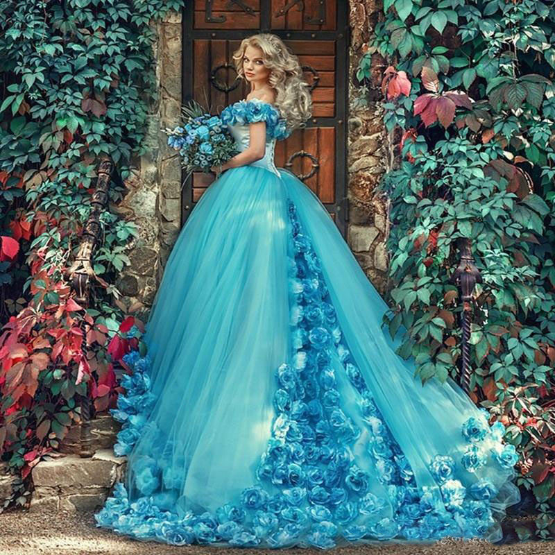 Bright vibrant wedding dresses matrimony prep elegant blue ball gown with handmade flowers and off the shoulder with court train junglespirit