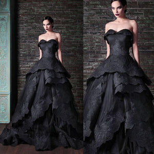 Beautifully Detailed Black Lace Edged Gothic Wedding Dress. Custom Colors Available.