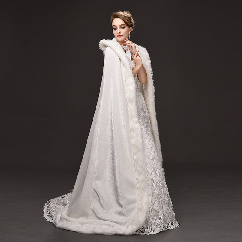 Elegant Faux Fur Bridal Cape