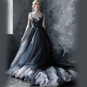 Black Tulle Gothic Wedding Dress