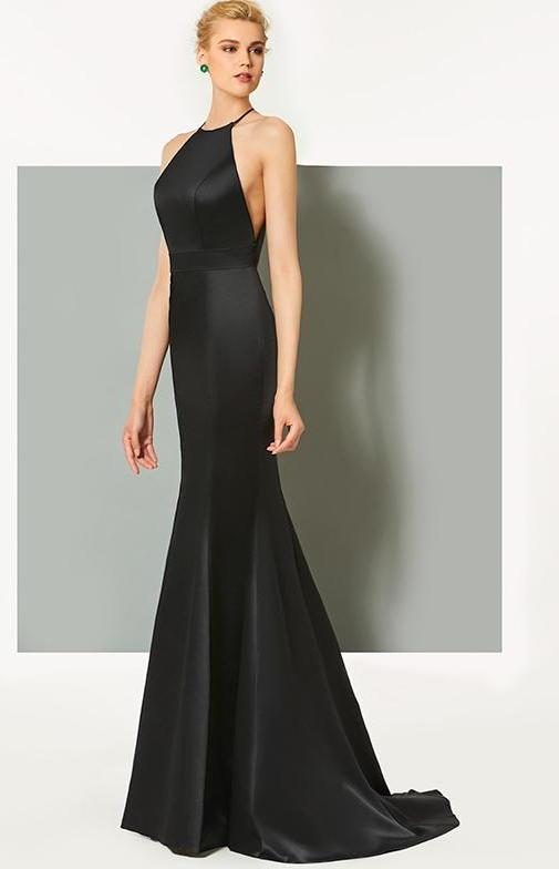 Elegant Scoop Neck Black Evening Gown