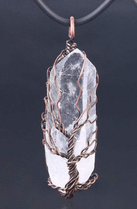 Copper Wrapped Tree of Life Crystal Pendant