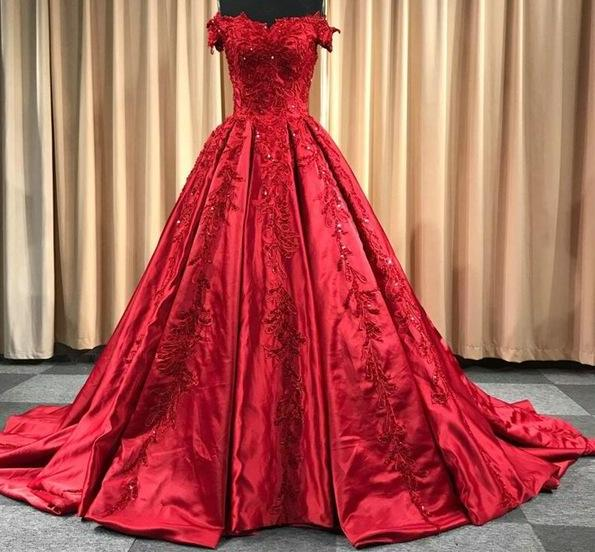 Appliques Beaded Vintage Satin Ball Gown