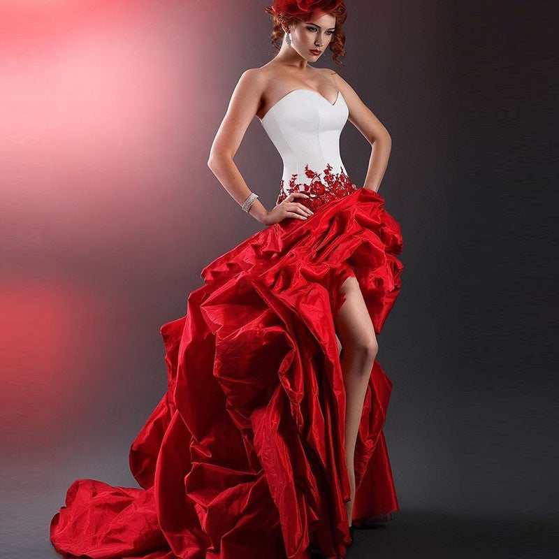Red Wedding Dresses: Victorian Gothic Masquerade White And Red Wedding Dress